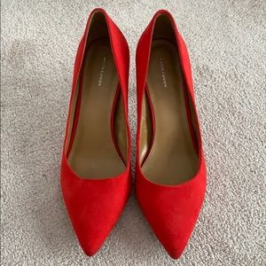 14th & Union Red Faux Suede Heels